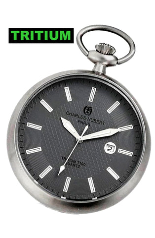 Charles-Hubert Paris Traditional Open Face Work Pocket Watch with T100 Tritium, XWA5559