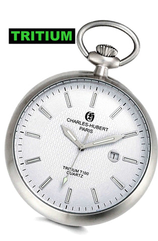 Charles-Hubert Paris Traditional Open Face, White Dial, T100 Tritium Pocket Watch, XWA5560