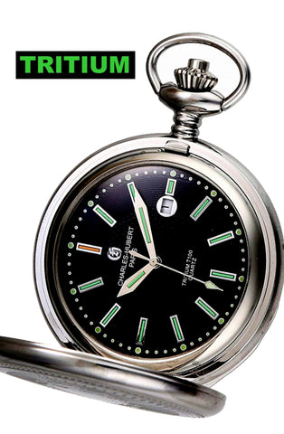 Charles-Hubert Paris T100 Tritium Hunter's Case, Closing Cover, Pocket Watch, XWA5565