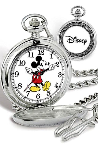 Disney's Mickey Mouse Closed Cover Pocket Watch with Chain, XWA5723