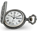 Railroad Closing Cover Pocket Watch, Antiqued Pewter Locomotive Case