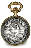 Railroad Closing Cover Pocket Watch, Antiqued Two-Tone Steam Locomotive Case