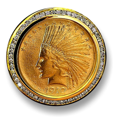 Men's Massive Gold Coin and Diamond Ring, Genuine USA $10 Indian Head Eagle, 1 1/3 ctw Diamonds