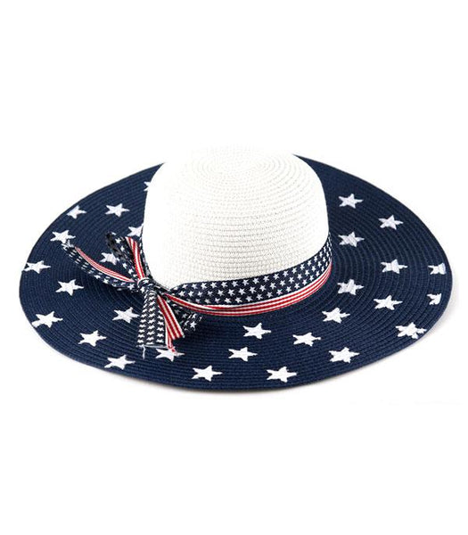 American Flag Straw Hat with White Stars