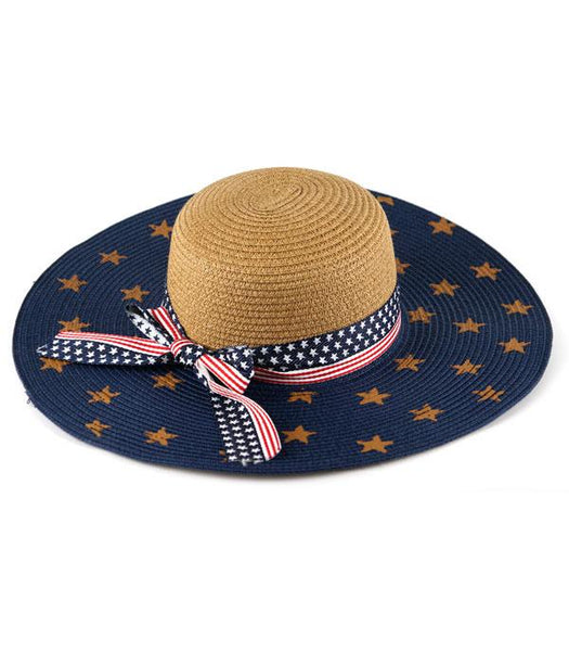American Flag Straw Hat with Tan Stars