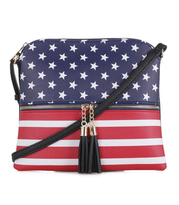 US Flag Black Crossbody Bag