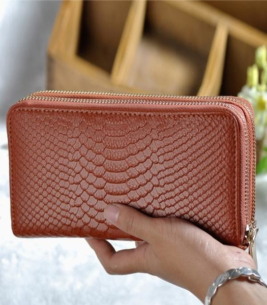 Women's Genuine Leather Double Zipper Wallet
