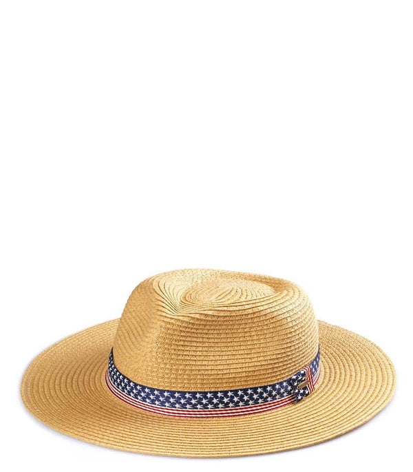 America Flag Band Panama Fedora Hat
