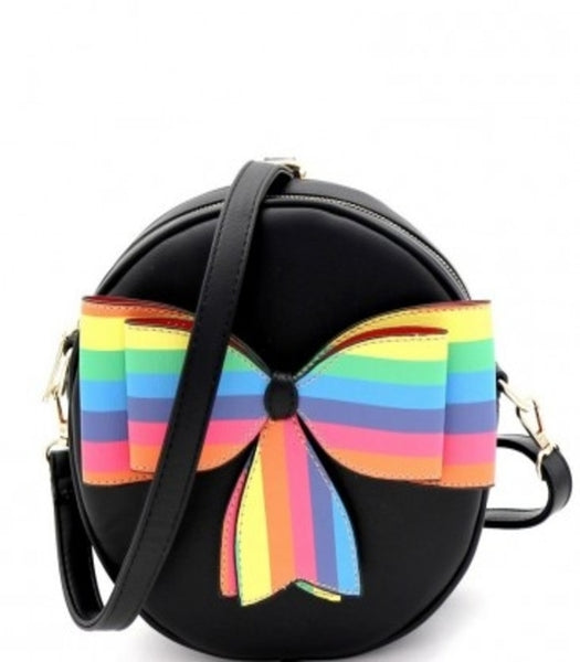 Black Multi-Colored Striped Bow Round Shoulder Bag