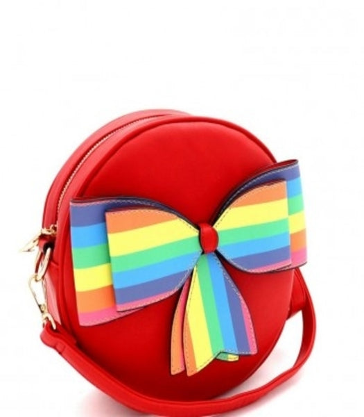 Red Multi-Colored Striped Bow Round Shoulder Bag