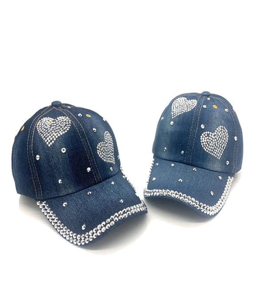 Denim Baseball Cap with Heart Rhinestone Design