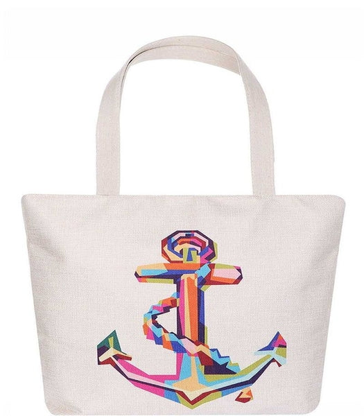 Colorful Anchor Print Tote Bag