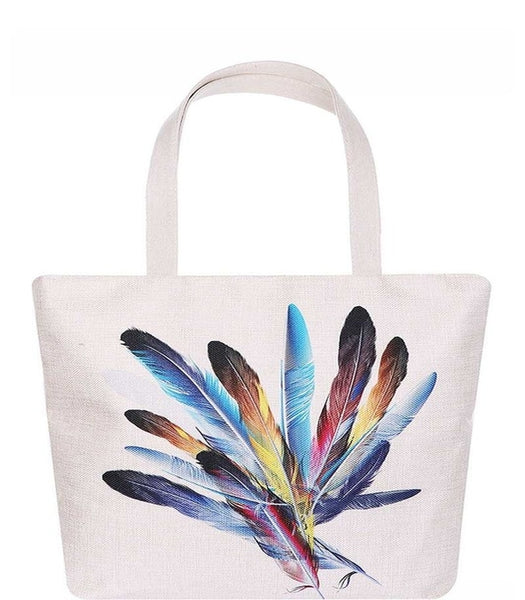 Colorful Feather Print Tote Bag