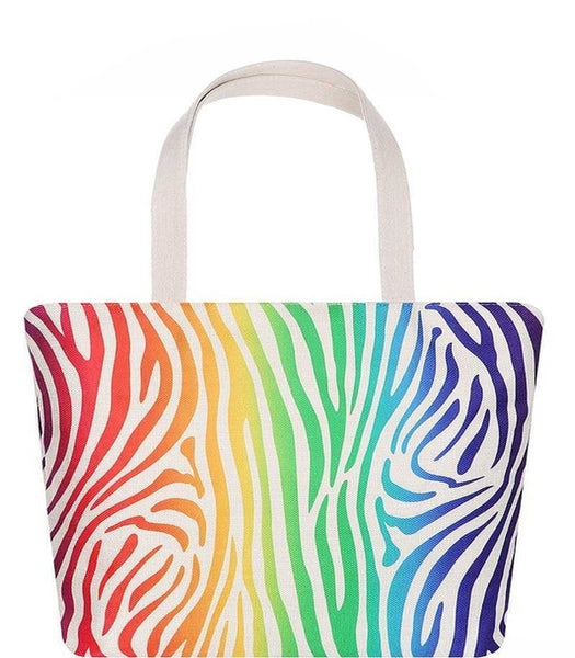 Colorful Zebra Print Tote Bag
