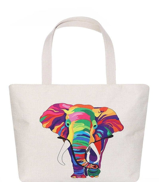 Multi Color Elephant Print Tote Bag