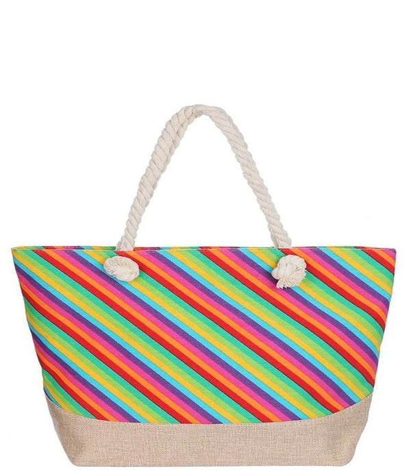Rainbow Stripe Tote Bag