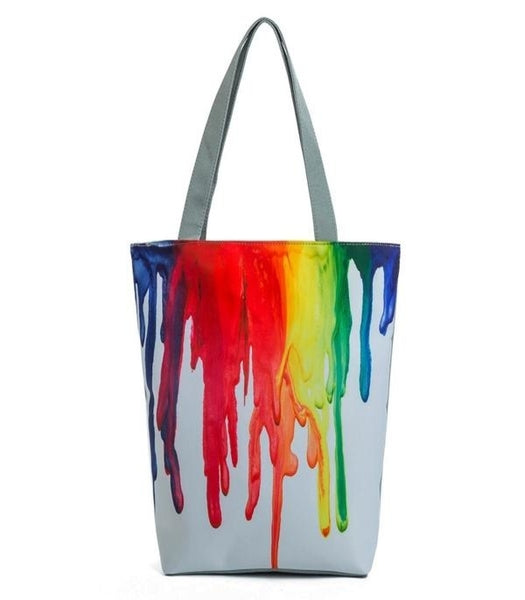 Colorful Paint Canvas Women Tote Bag