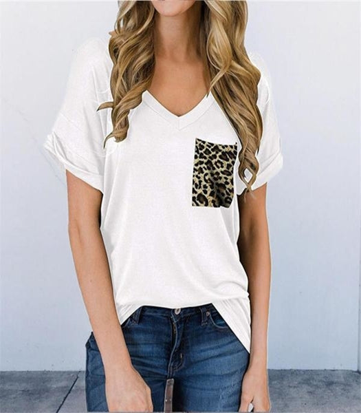Womens Leopard Pocket V-Neck T-Shirt