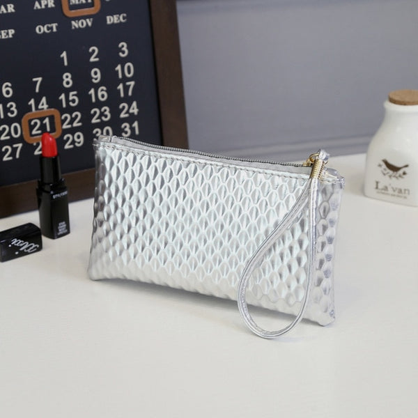 Women PU Leather Crocodile Wristlet