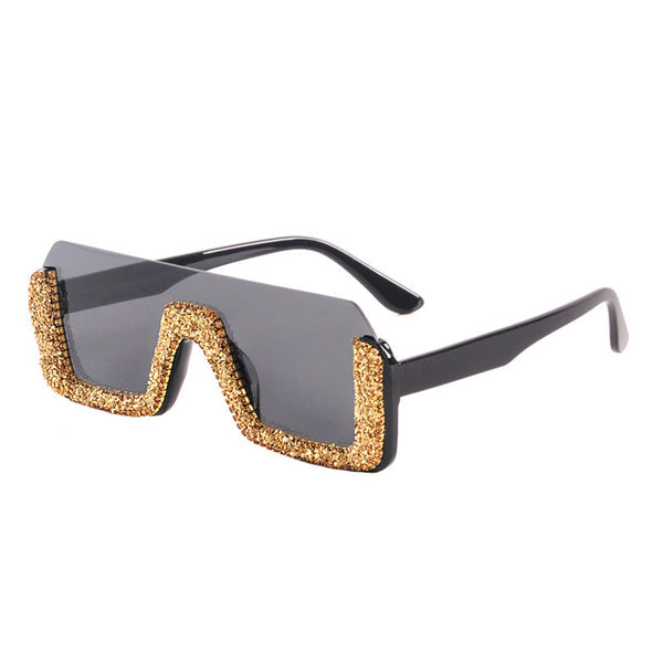 Diamond Semi-Rimless Square Women Rhinestone Sunglasses