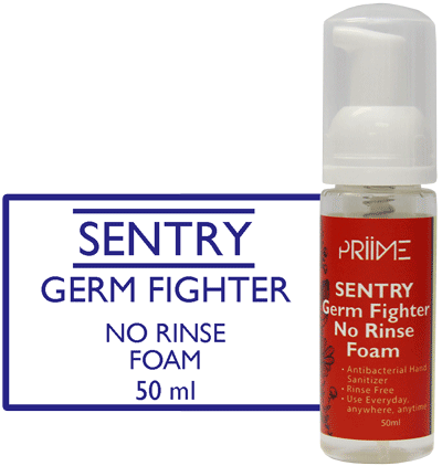 Priime Sentry Germ Fighter No Rinse Foam Hand Sanitizer - Biosense Clinic