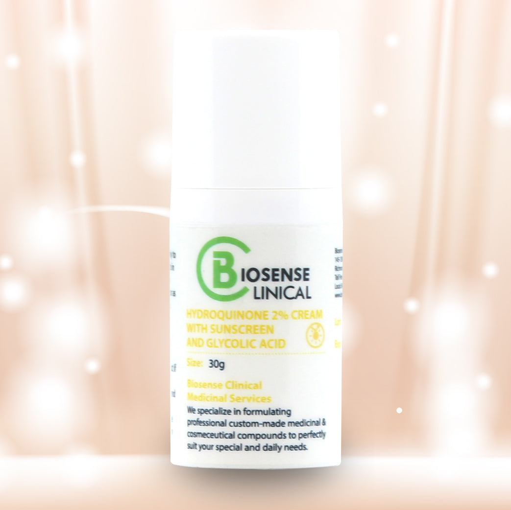 BiosenseClinical HQ 2% Cream - Sunscreen and Glycolic Acid 30g - biosense-clinic.com