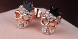 Rose Gold Skull Earrings