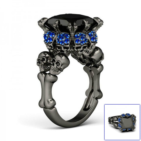 Black Princess Cut Skull Ring Blue Gem Stones