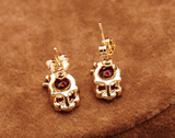 Crystal Skull Crown Stud Earrings