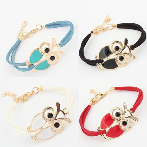 Owl Leather Bracelet - Click N' Shopp