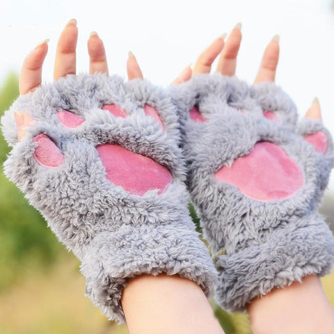 Cat Plush Paw Gloves