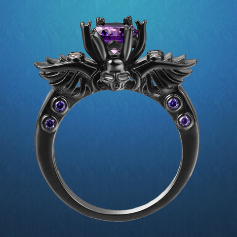 Amethyst Winged Skull Ring