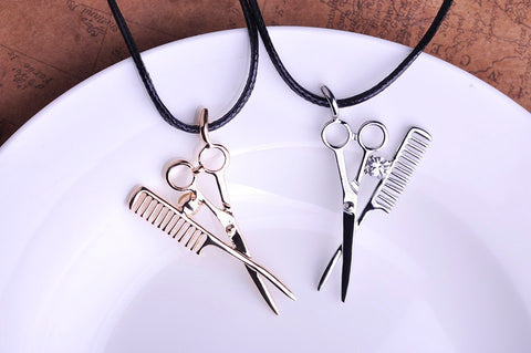 Leather Scissor and Com Necklace