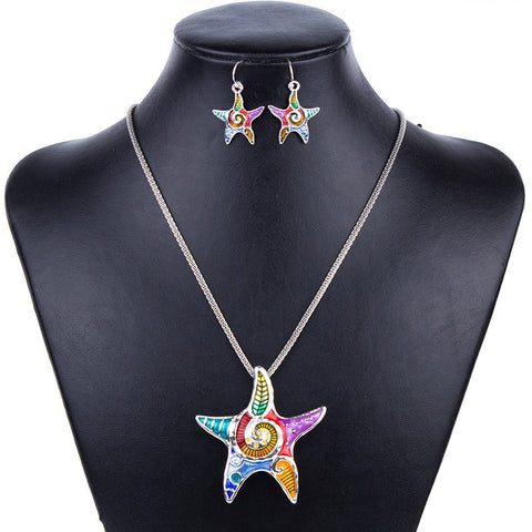 Starfish Necklace and Earrings Set - Click N' Shopp