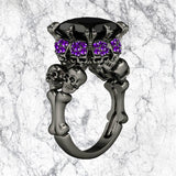 Black Princess Cut Skull Ring