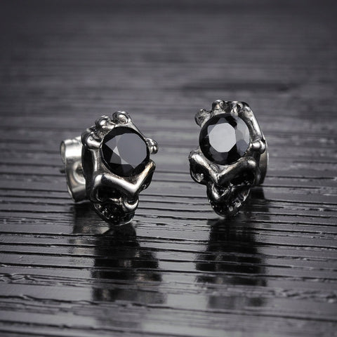 New Silver-Black/White Skull Earrings