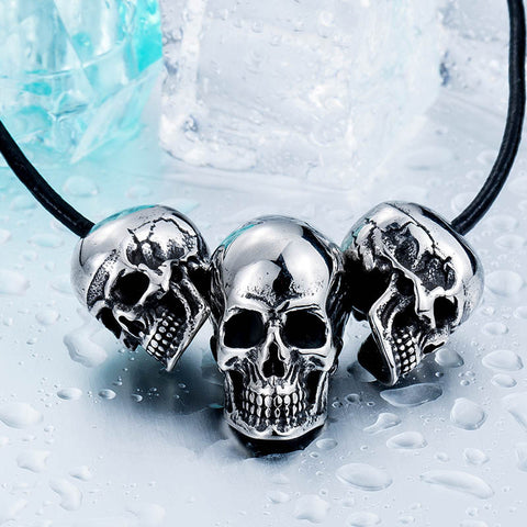 3 Skulls Stainless Steel Necklace