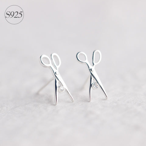 925 Sterling Silver Scissors Stud Earrings
