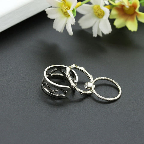 3 pieces Bones Knuckle Rings Set - FREE SHIPPING