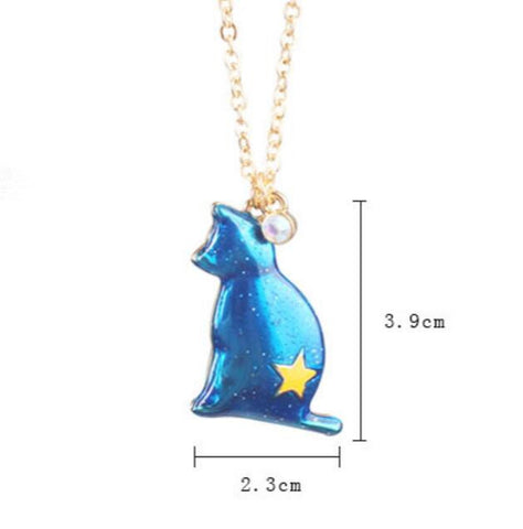 Blue Planet Star Cat Necklace