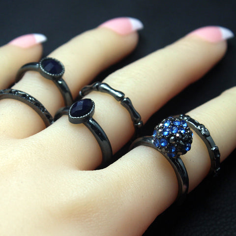 6 pcs Black Ring Set - FREE SHIPPING