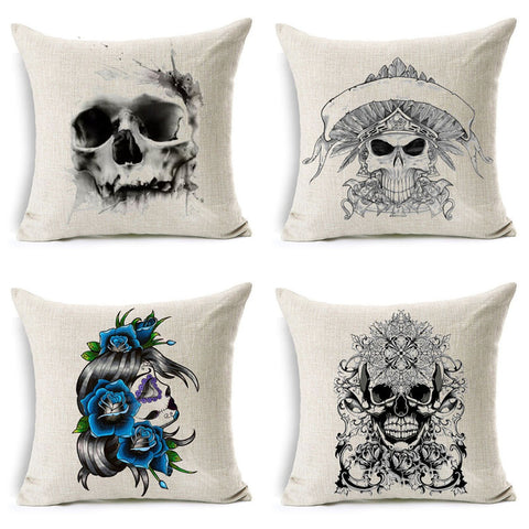 Skull Printed Cushion Cover
