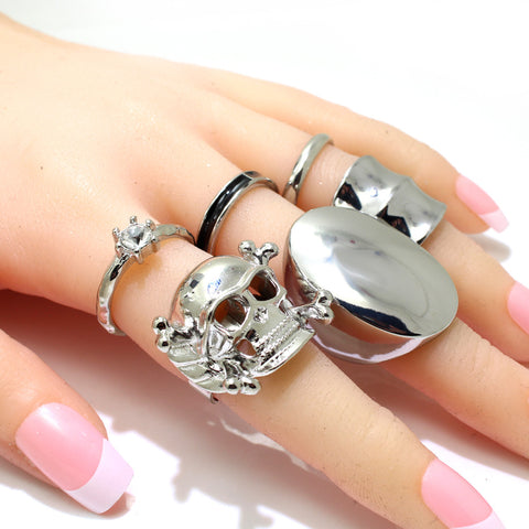 6 pcs Boho Vintage Silver Plated Skull Rings Set - FREE SHIPPING
