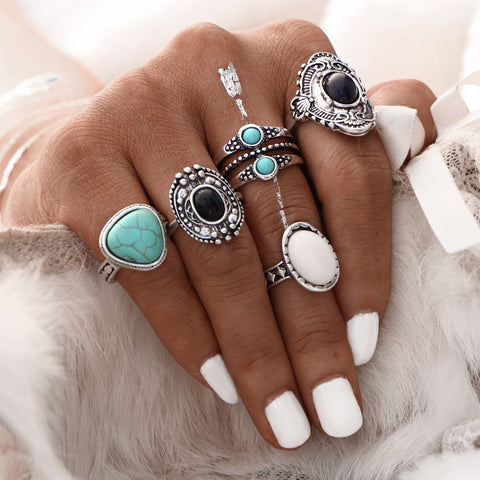 5 Pcs/Set  Antique Silver Bohemian Ring Set