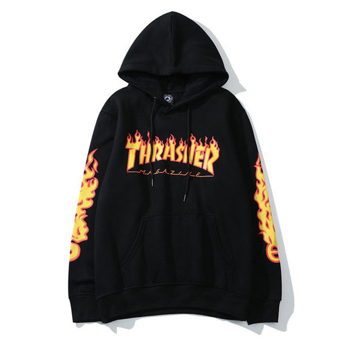 Thrasher Yellow Flame Classic Black Hoodie