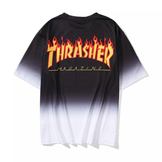 Thrasher   Black and White Fade Out  T-Shirt