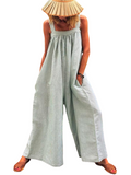 Grey Women Overalls Cotton Wide Leg Jumpsuits Mitiy Sleeveless Linen Baggy Pants Rompers