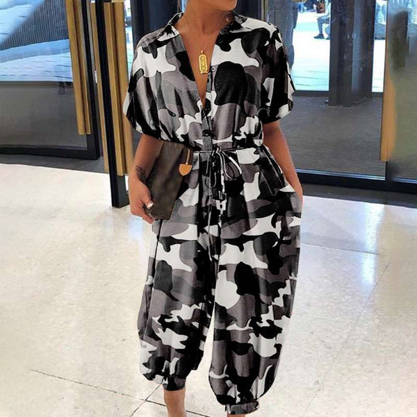 Camo Casual Loose Belted Cargo Jumpsuits Curvy Figure