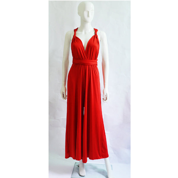 Multi Way Convertible Wrap Palazzo Red Jumpsuit