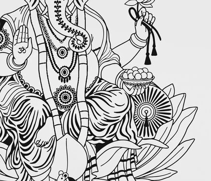 Ganesha Lotus Elephant Indian Vinyl Sticker